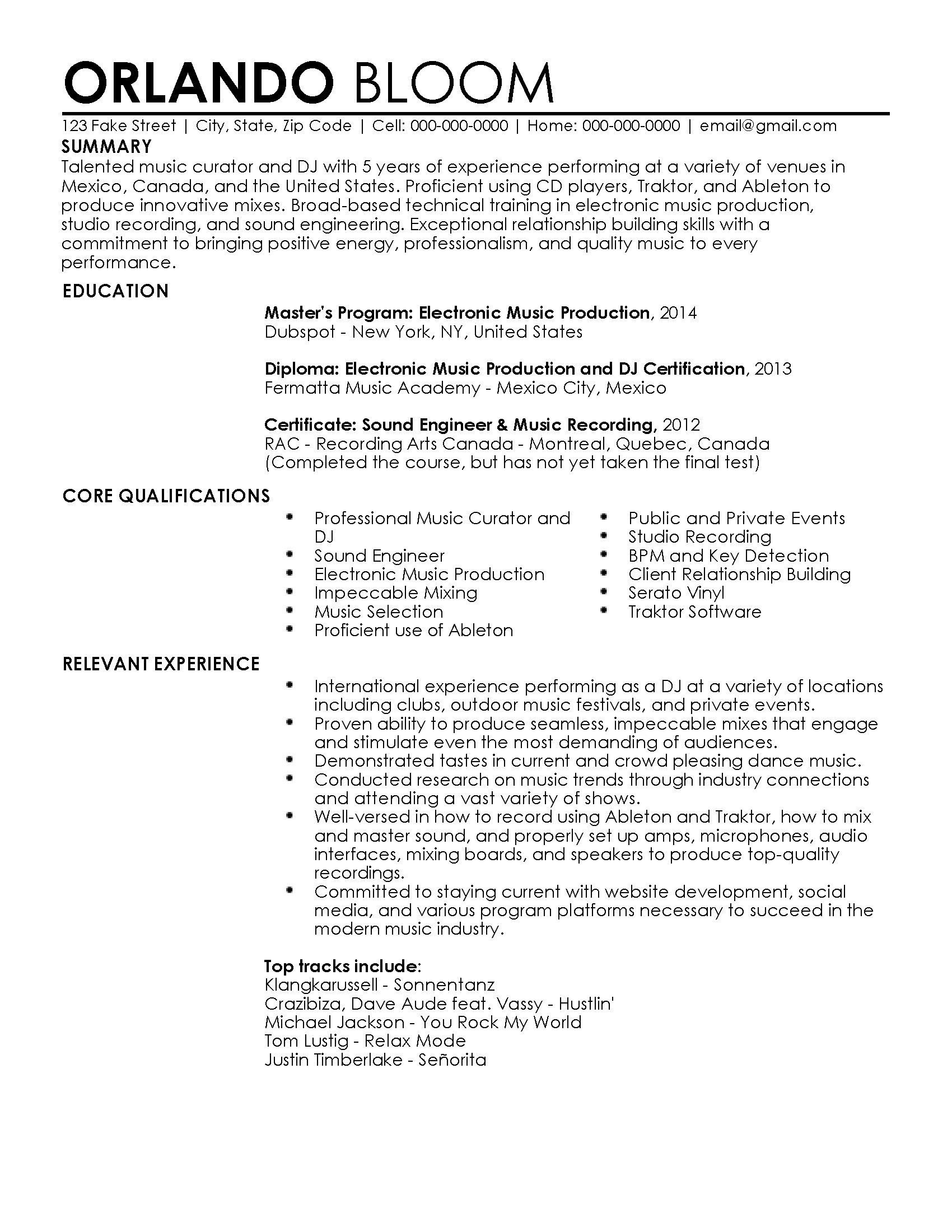 Music Resume Format Professional Dj Resume Templates To Showcase Your Talent