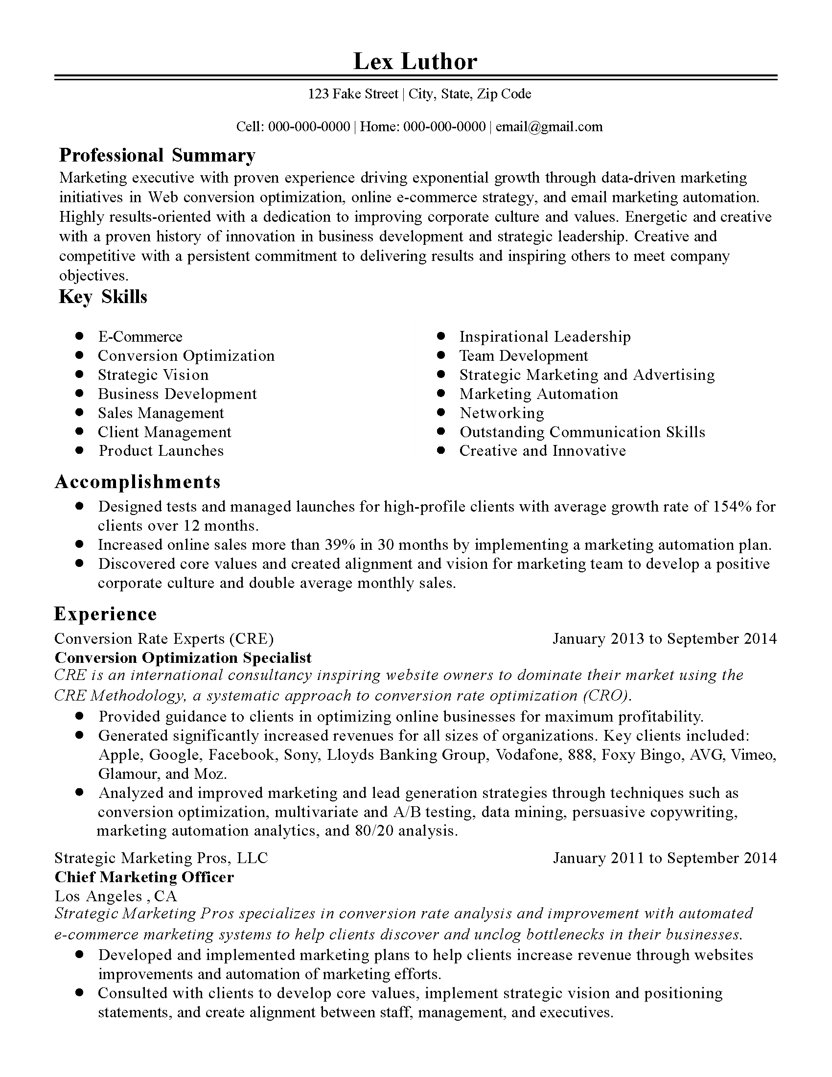 Marketing Resume Summary Statement Examples Professional Conversion Optimization Specialist Templates