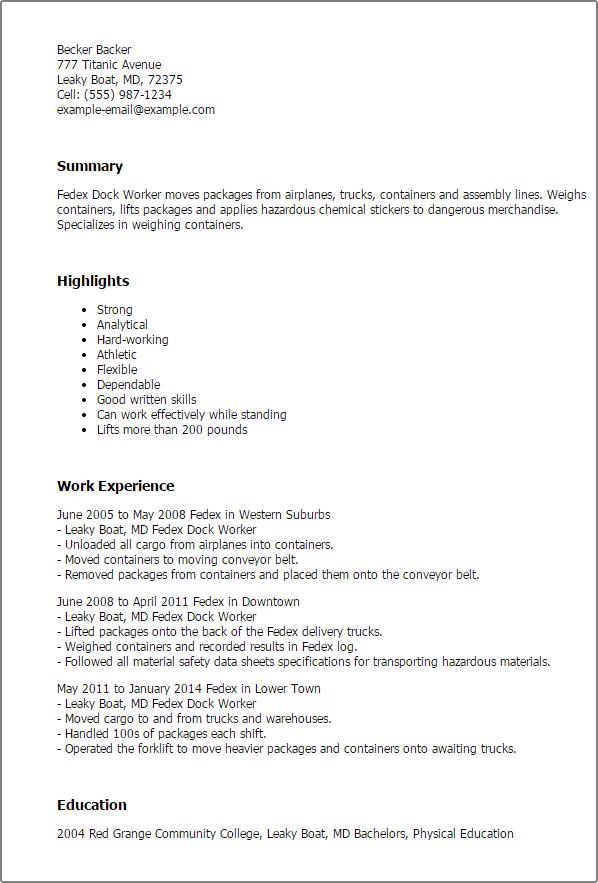 Sample Customer Resume