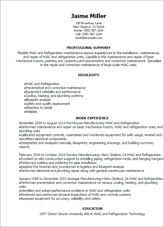 Resume Examples For Hvac Technician Best Create