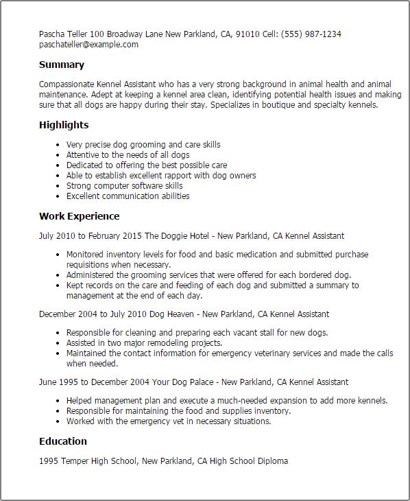 97+ Kennel Technician Resume