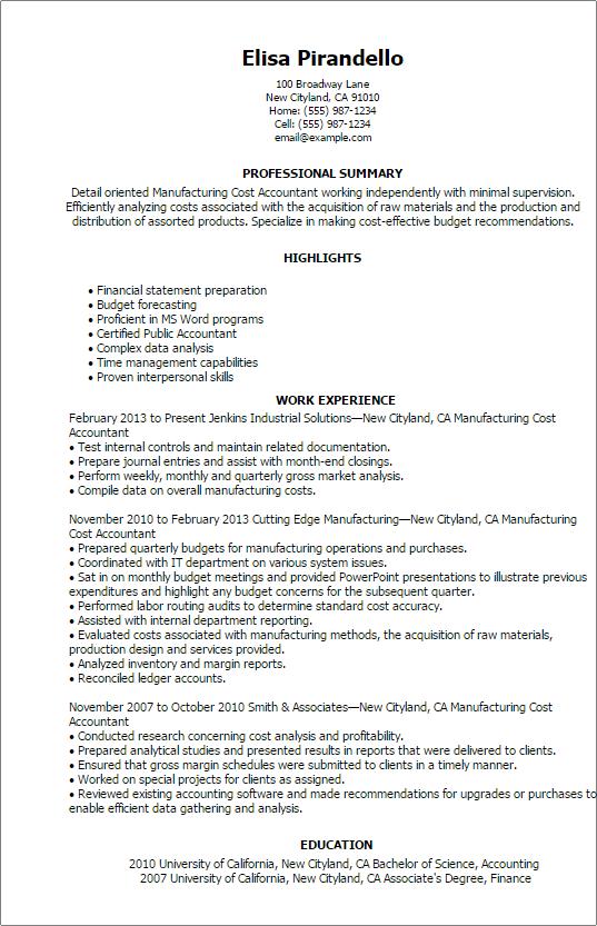 Plant Accountant Sample Resume JW74Y. Plant Accountant Resume ...