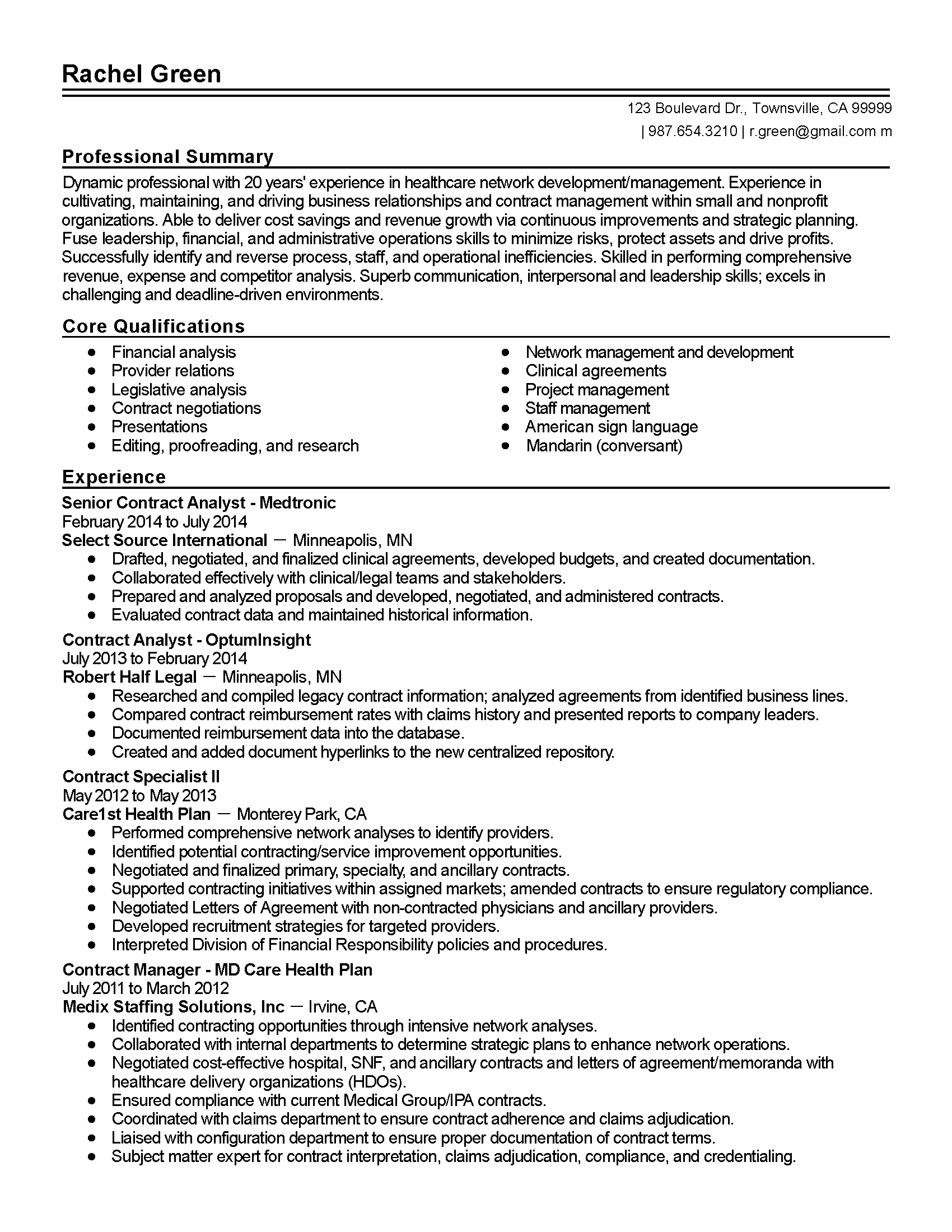 Resume Format For Purchase Manager Professional Senior Healthcare Contract Analyst Templates