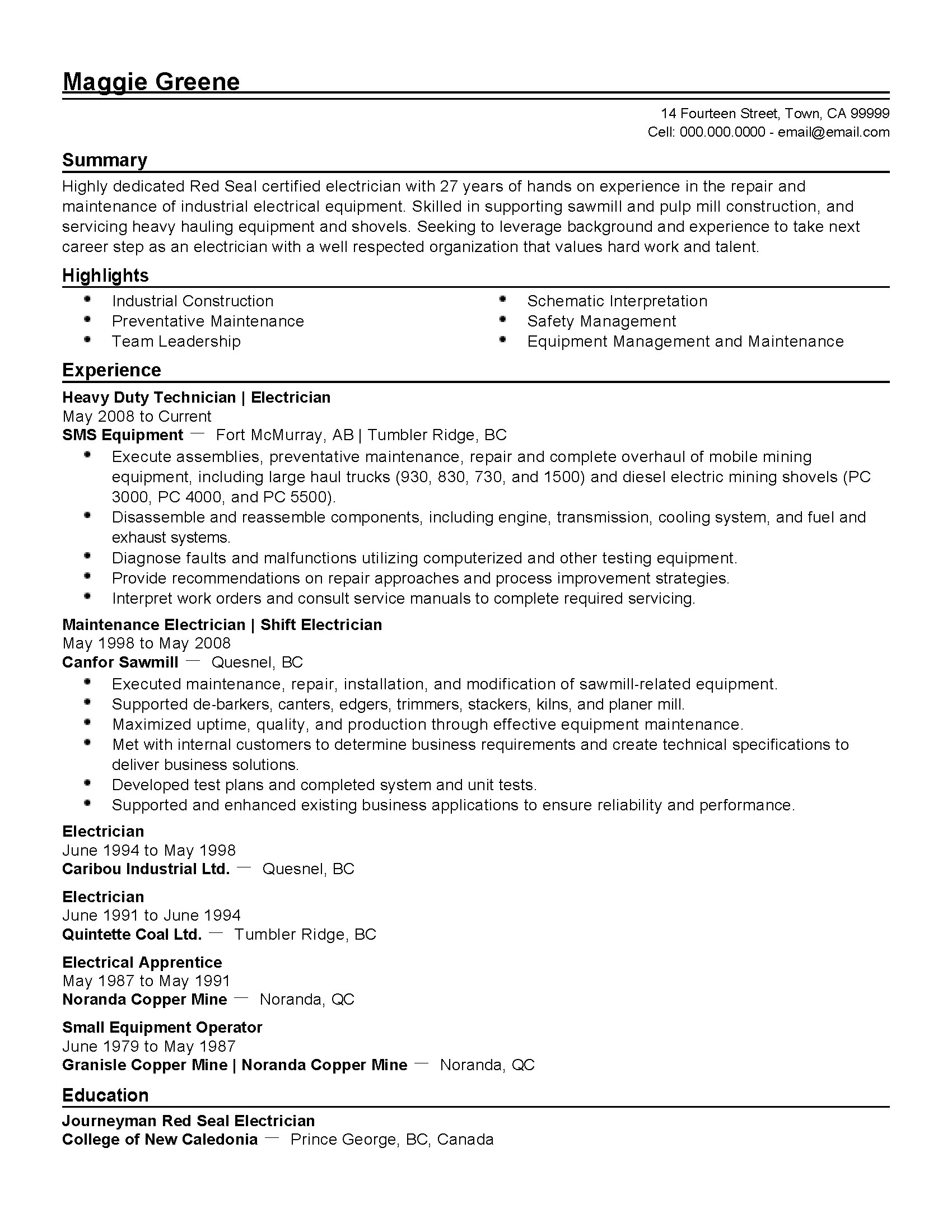 Electrical Resume Format Professional Industrial Electrician Templates To Showcase