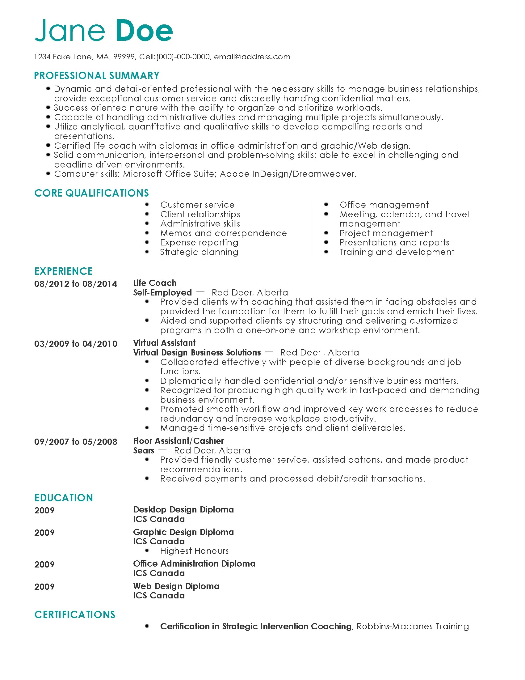 Coaching Resume Professional Life Coach Templates To Showcase Your Talent