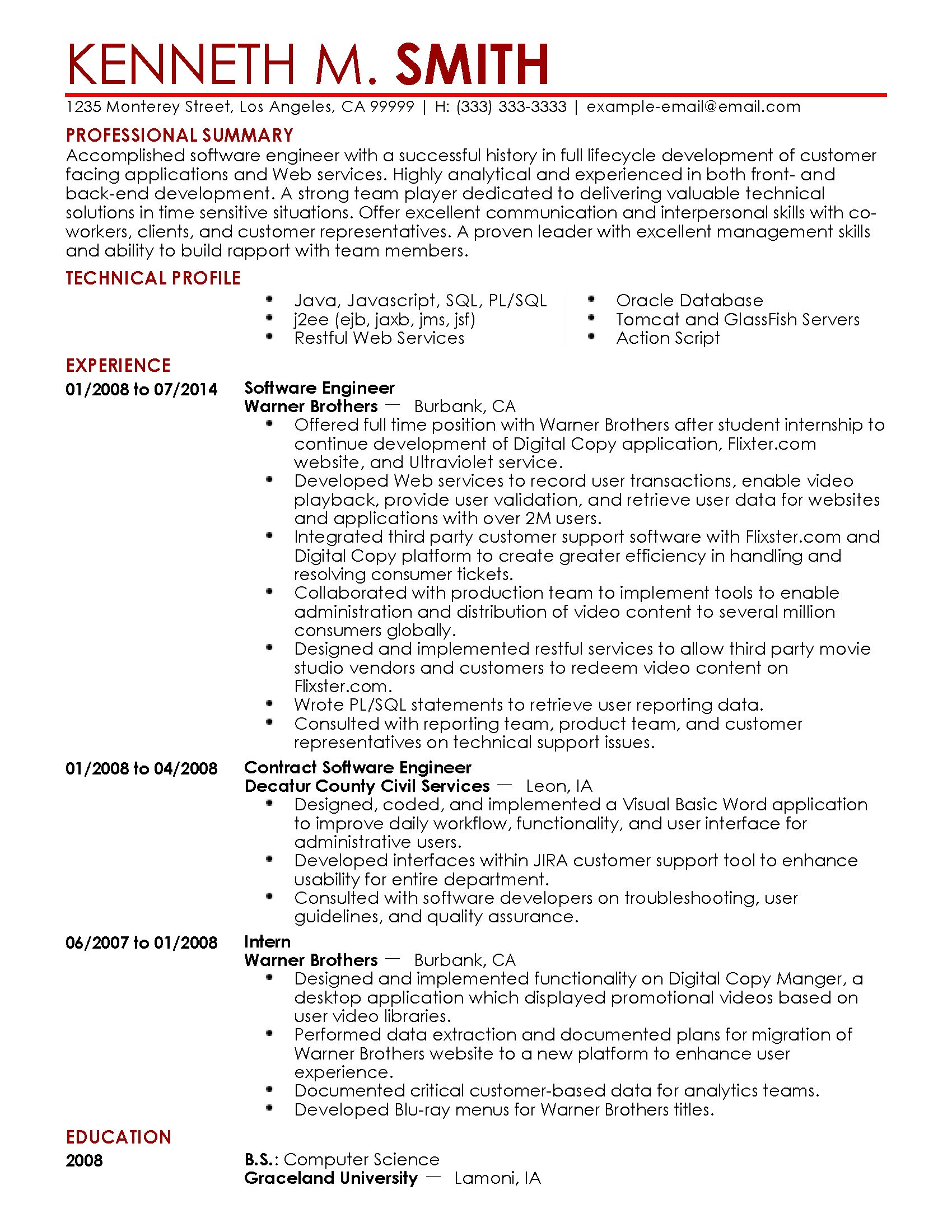 Resume Format For 1 Year Experienced Software Developer Professional Software Engineer Templates To Showcase Your