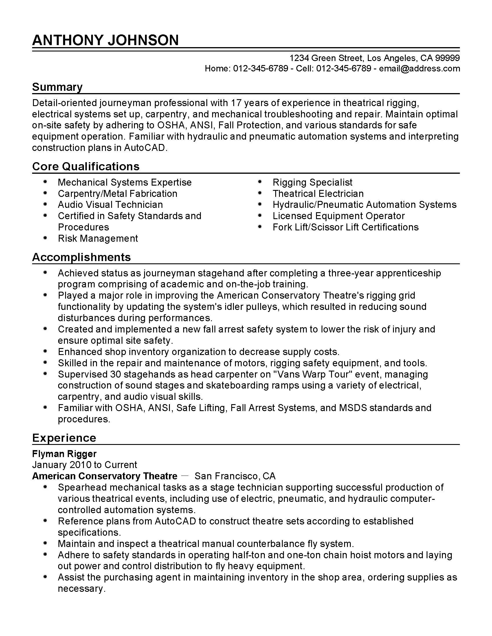 Copier Technician Resume Professional Flyman Rigger Templates To Showcase Your