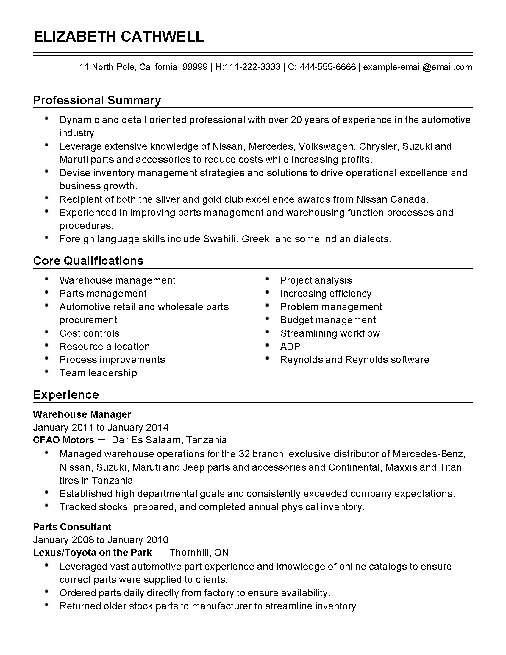 Example Of Warehouse Worker Resume Professional Automotive Inventory Manager Templates To