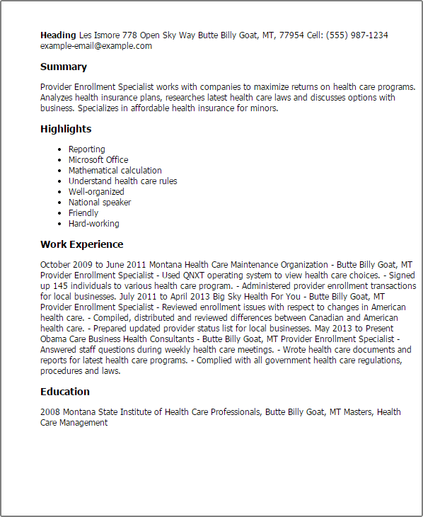 Sample Resume Of Insurance Claims Specialist How To Make A