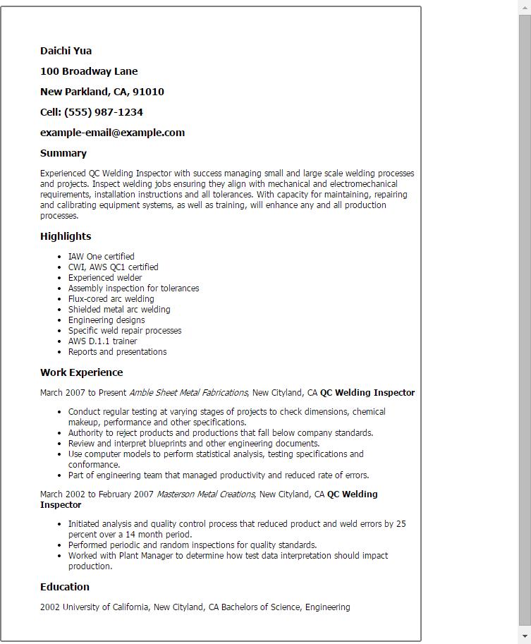 Application Letter For Qc | Resume Maker: Create ...