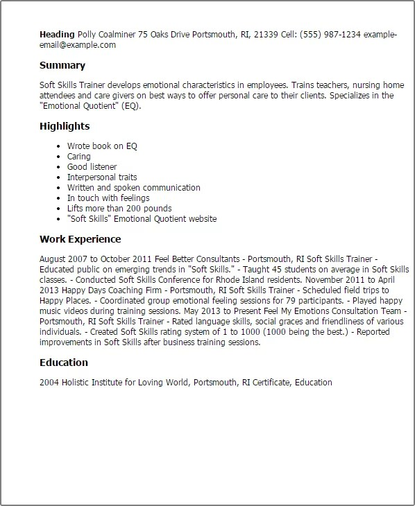 soft skills cv example template hold harmless template general