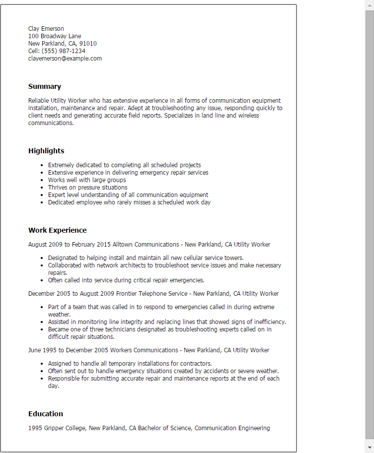 Resume Sample For Utility Worker Anosorgau Australasian Native Orchid Society Anos School Templates