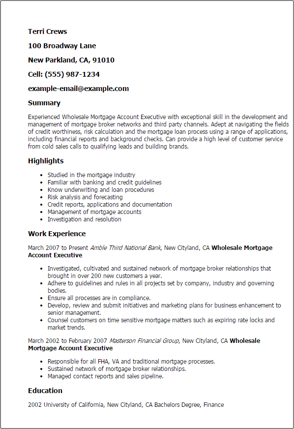 Perfect Mortgage Underwriter Resume Objective For Best Sample Example