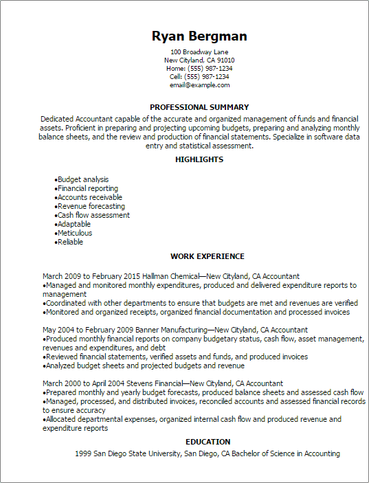 Awesome Production Accounting Resume Calgary Gallery - Best Resume ...