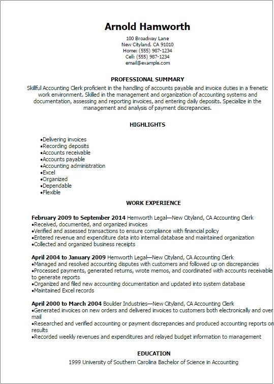 Professional Accounting Clerk Resume Templates To Showcase Your