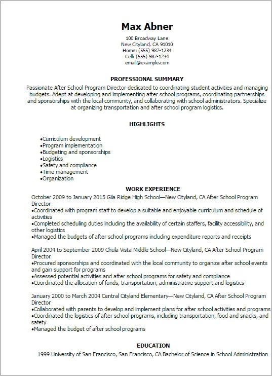 Professional After School Program Director Resume Templates To