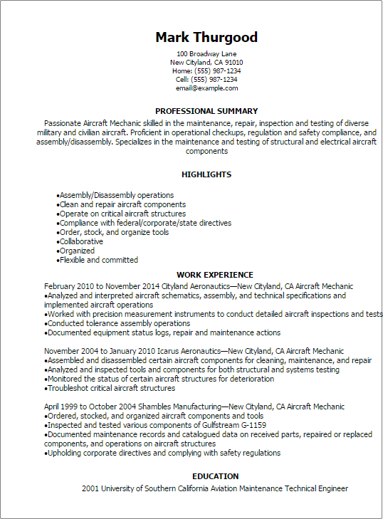 Resume Examples Mechanic Examples of Resumes