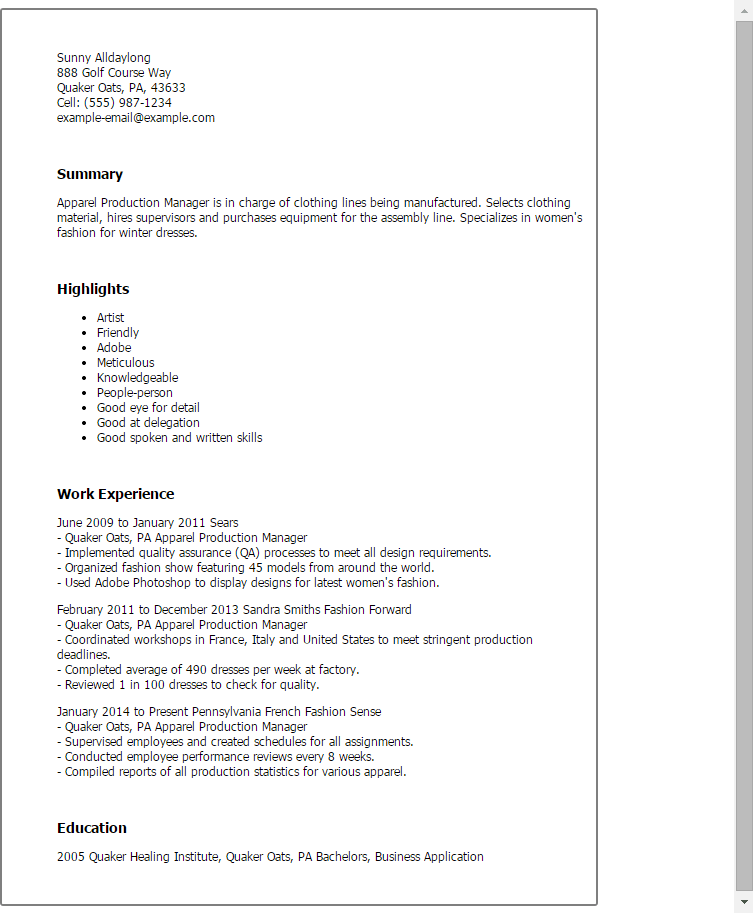 production manager resume samples starengineering