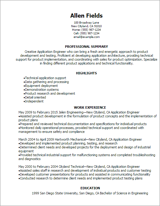 technical support engineer resume - Dcbuscharter.co