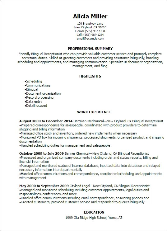Professional Bilingual Receptionist Resume Templates To Showcase
