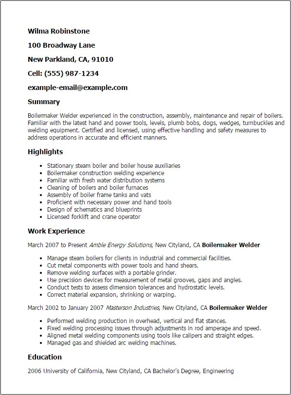 Boilermaker welder resume examples office manual template for Pdfbox template