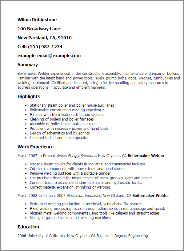 Boilermaker welder resume examples office manual template for Mini pupillage covering letter