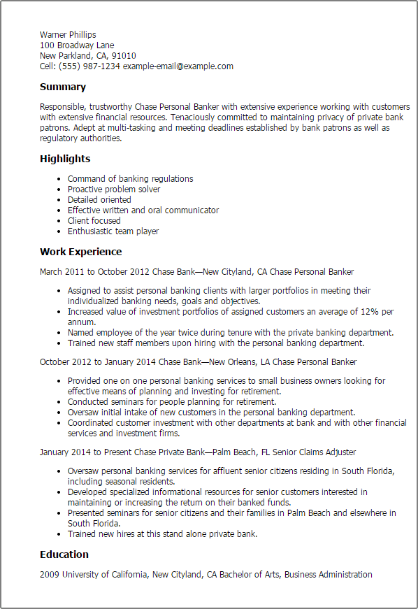 Personal Banker Resume Examples