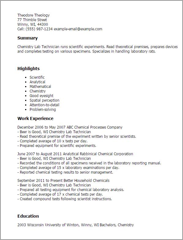 Chemistry Resume Example