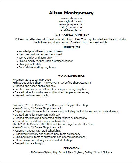 Resume Coffee Shop