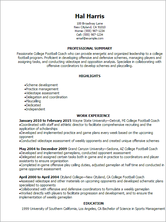 Awesome Professional College Football Coach Resume Templates To Showcase For Soccer Player Resume
