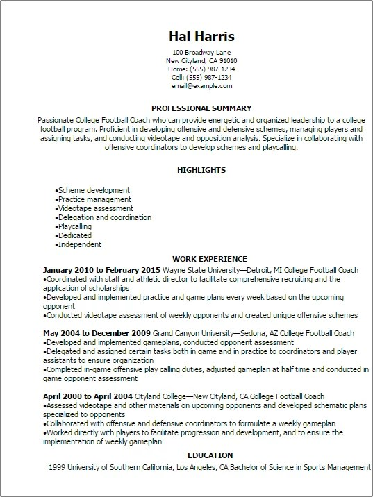Professional College Football Coach Resume Templates To Showcase
