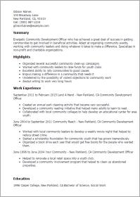 #1 Community Development Officer Resume Templates: Try ...