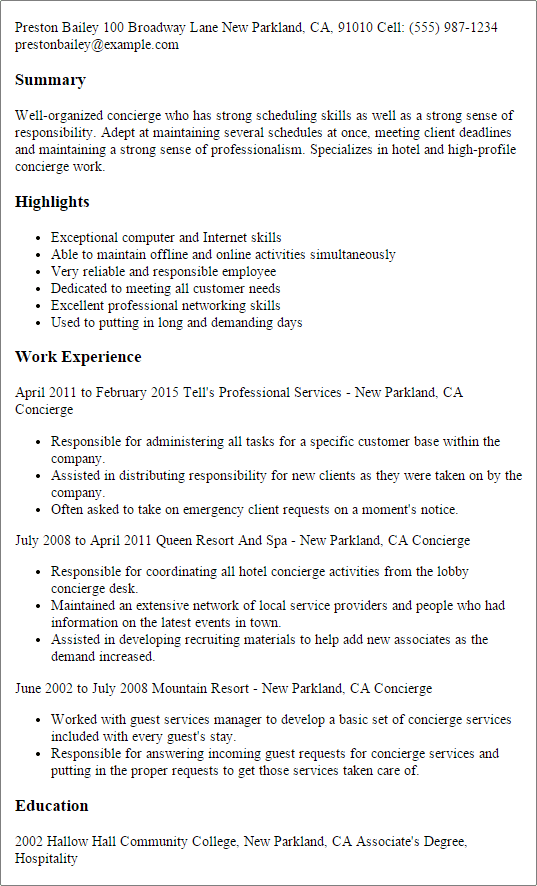 Resume For Hotel Concierge | Job References Reddit