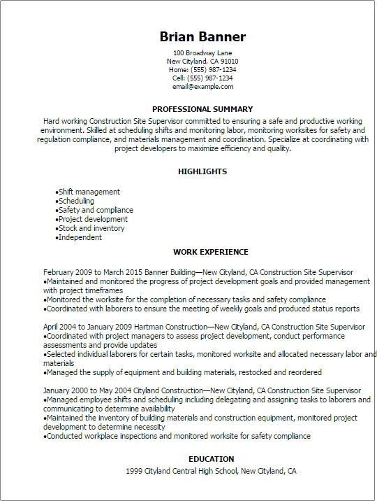 Professional Construction Site Supervisor Resume Templates To