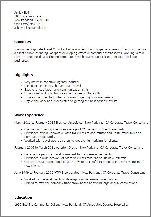sample travel agent resume