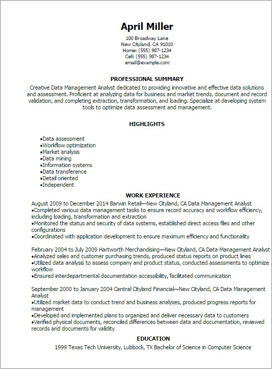 Professional Data Management Analyst Resume Templates To Showcase