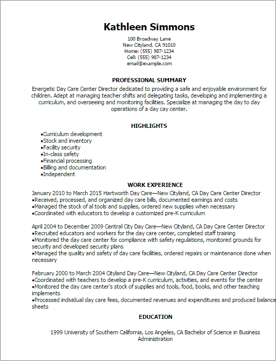 Professional Day Care Center Director Resume Templates To Showcase