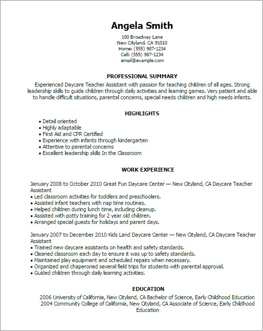 professional daycare teacher istant templates to showcase your - Preschool Teacher Resume
