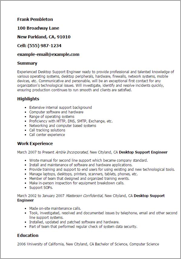 Desktop Resume Resume Sample