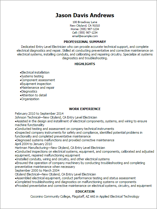 Professional Entry Level Electrician Resume Templates To Showcase
