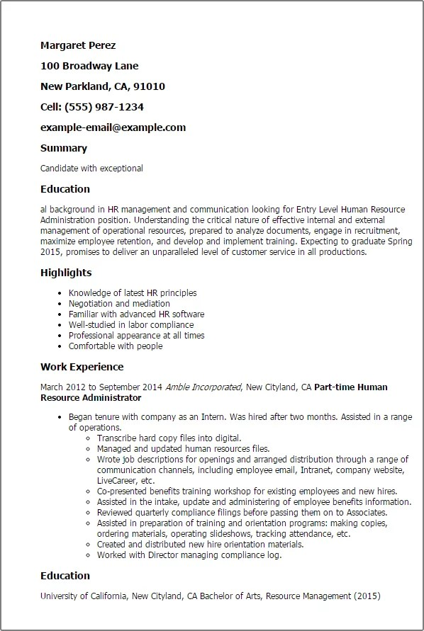 human resource administration sle resume 100 images