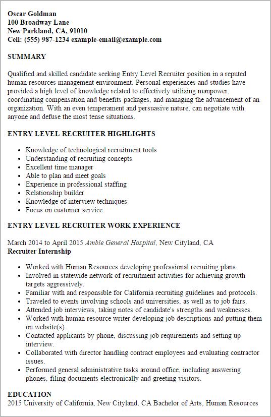 recruiter resume examples
