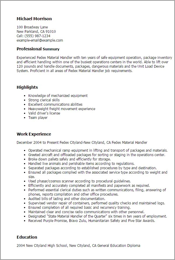 Professional Fedex Material Handler Templates To Showcase Your  Ups Package Handler Resume