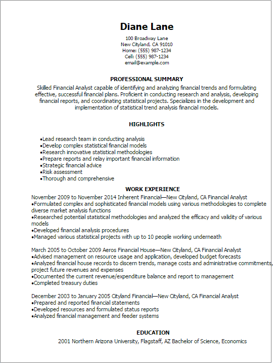 finance analyst resume examples