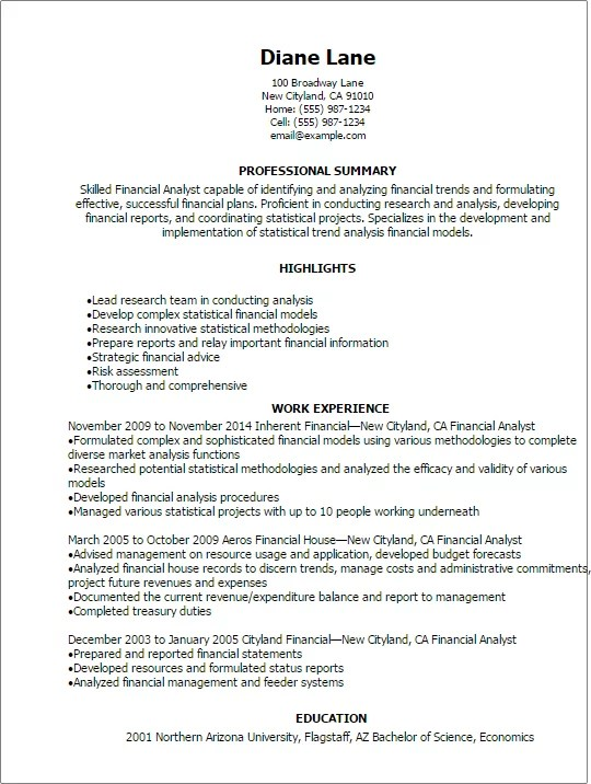 Professional Financial Analyst Resume Templates To Showcase Your