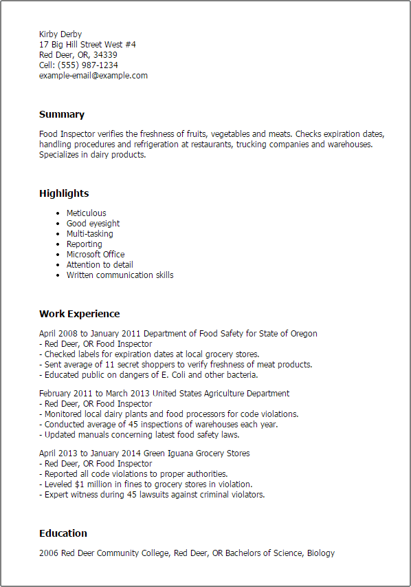 Expert Witness CV Sample. Via: Sampleandtemplate.com. Professional Food  Inspector Templates To Showcase Your Talent