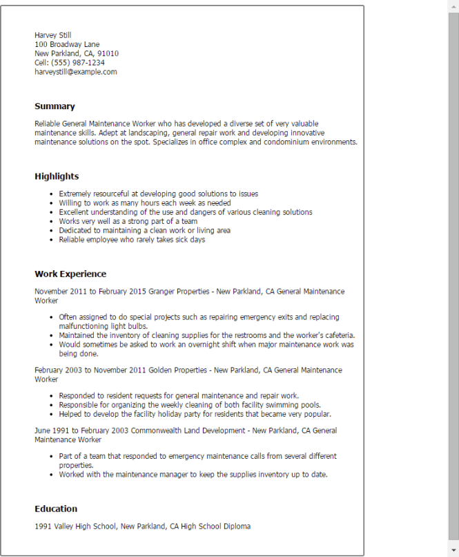 professional general maintenance worker templates to showcase your maintenance worker resume 13 general sample building skills summary - Building Maintenance Resume