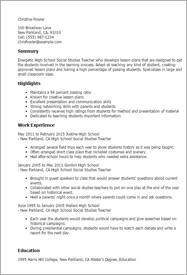 Professional High School Social Studies Teacher Templates To