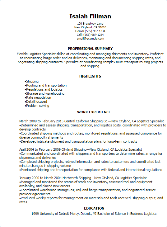 Professional Logistics Specialist Resume Templates To Showcase