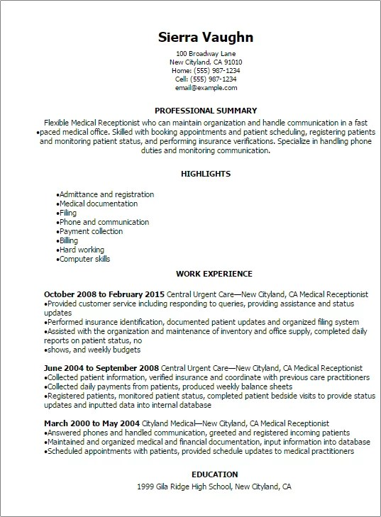 Medical Secretary Resume